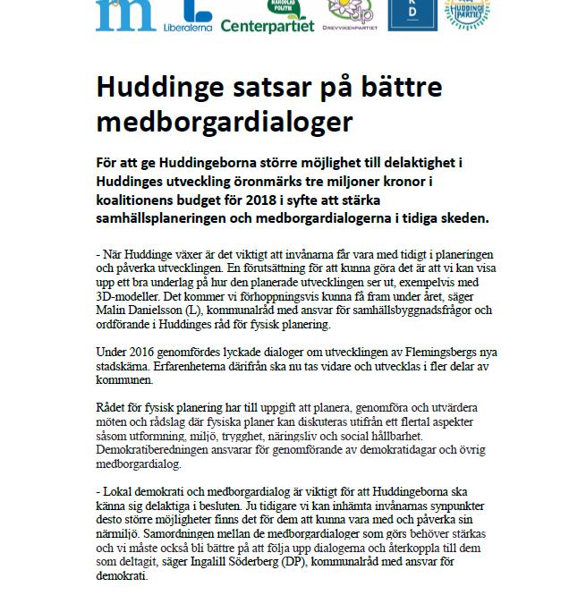 Pressmeddelande om medborgardialoger